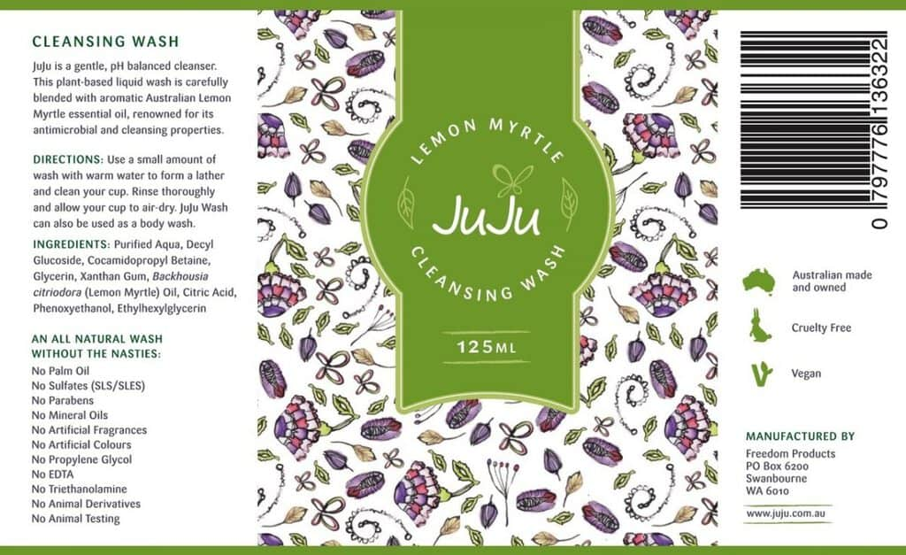 Juju cleansing cup wash label