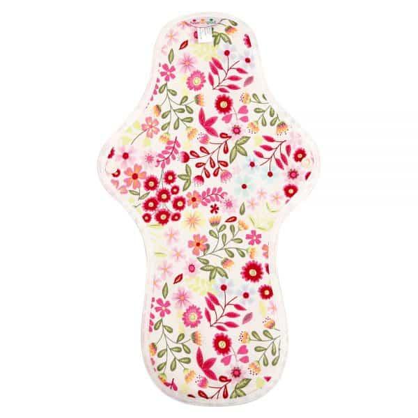 Hannahpad Large:Overnight Organic cotton pad Flower Garden Pink