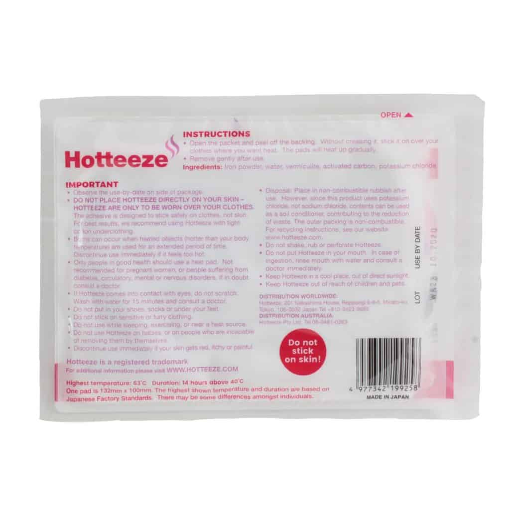 Hotteeze Heat Pad packet back