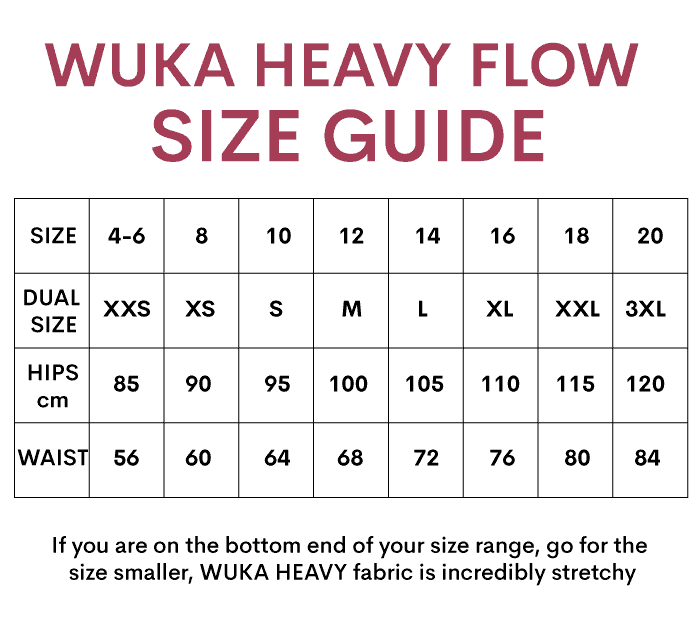 WUKA Period Pants Heavy Flow Size Guide